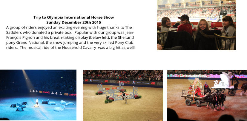 Trip to Olympia International Horse Show Sunday December 20th 2015 A group of riders enjoyed an exciting evening with huge thanks to The Saddlers who donated a private box.  Popular with our group was Jean-François Pignon and his breath-taking display (below left), the Sheltand pony Grand National, the show jumping and the very skilled Pony Club riders.  The musical ride of the Household Cavalry  was a big hit as well!